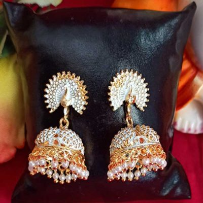 Trendilook German Gold With Pearl White Mayur Jhumki