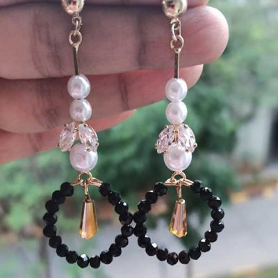 Trendilook Black Pearl Long Party Wear Earring