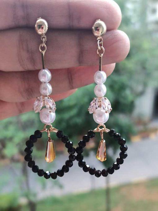 Trendilook Black Pearl Long Party Wear Earring