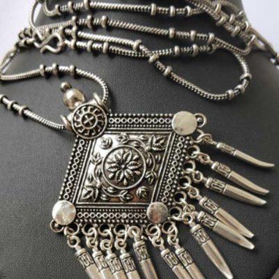 Trendilook German Silver Geometric Neckpiece