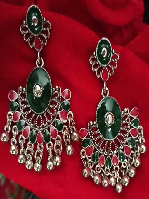 Trendilook German Silver Green Jhumki Earring