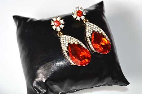 Trendilook Stone Red Crystal Drop Earring