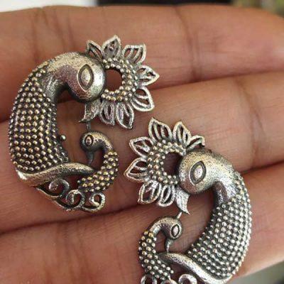 Trendilook German Silver Mayur Bahubali Earring