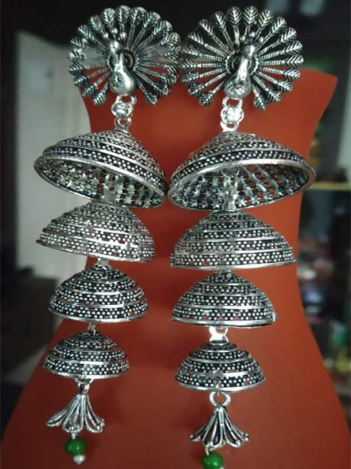 Trendilook German Silver Mayur Layered Jhumki