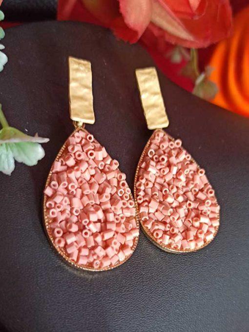 Trendilook Stylish Party Wear Peach Earring