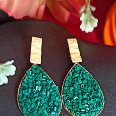 Trendilook Stylish Party Wear Green Earring