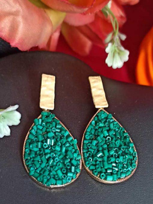 Trendilook Stylish Party Wear Green Earring
