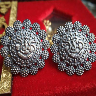Trendilook German Silver Stud Ganpati Earring