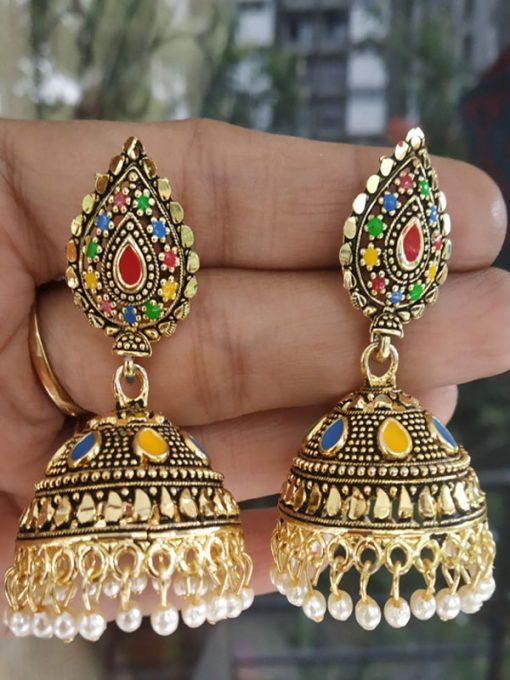 Trendilook German Gold Meenakari Jhumki