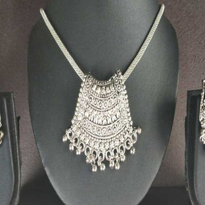 Trendilook Oxidized Silver Necklace Set