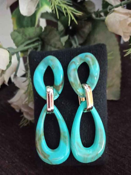 Trendilook Party Wear Green Layered Earring