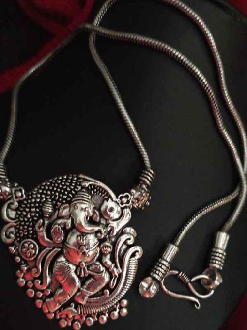Trendilook Premium Quality German Silver Bahubali Neckpiece