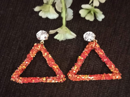 Trendilook Party Wear Glitter Triangle Drop Earring
