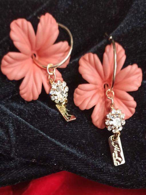 Trendilook Party Wear Flower Drop Stone Earring