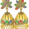 Trendilook Wedding Wear Gold Polished Meenakari Jhumki
