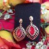 Trendilook Red Crystal Party Wear Drop Earring