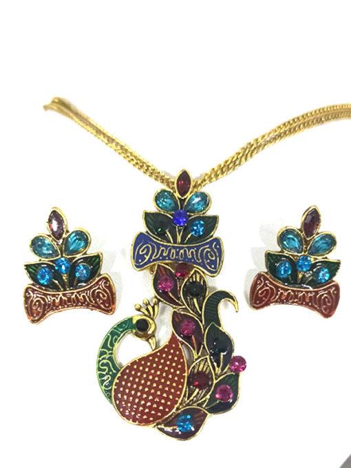 Trendilook Party Wear Meenakari Mayur Multi Color Necklace Set