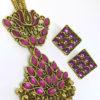 Trendilook Party Wear Meenakari Flower Pink Necklace Set