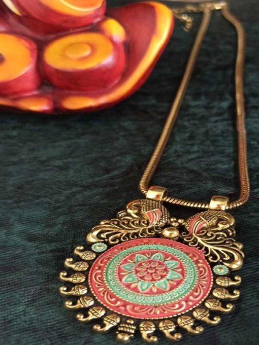 Trendilook German Gold Meenakari Bahubali Premium Quality Necklace